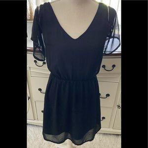 Black Flowy Capped Sleeve Mini Dress 4 New
